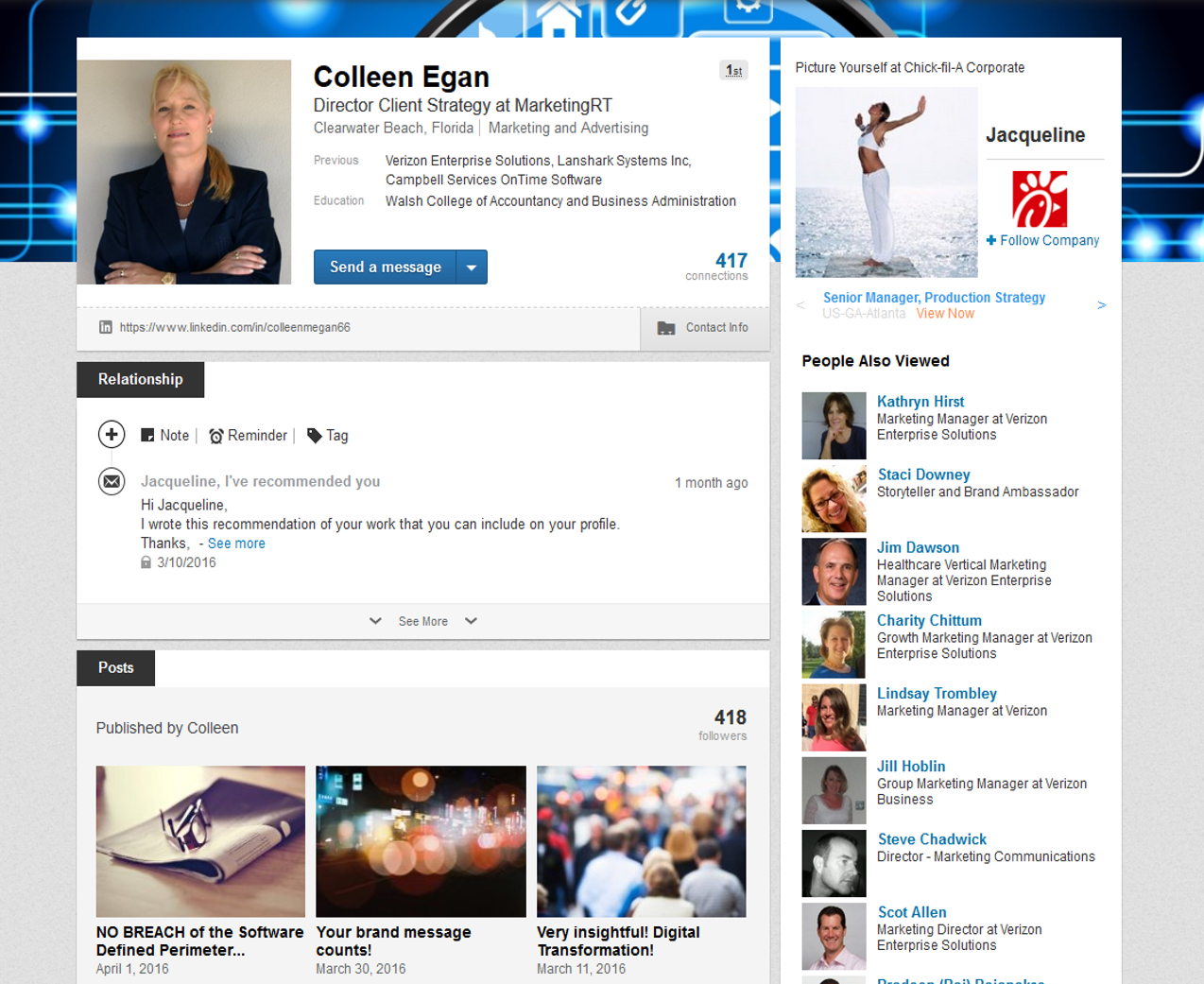 Project: Social - LInkedIn - Colleen Egan