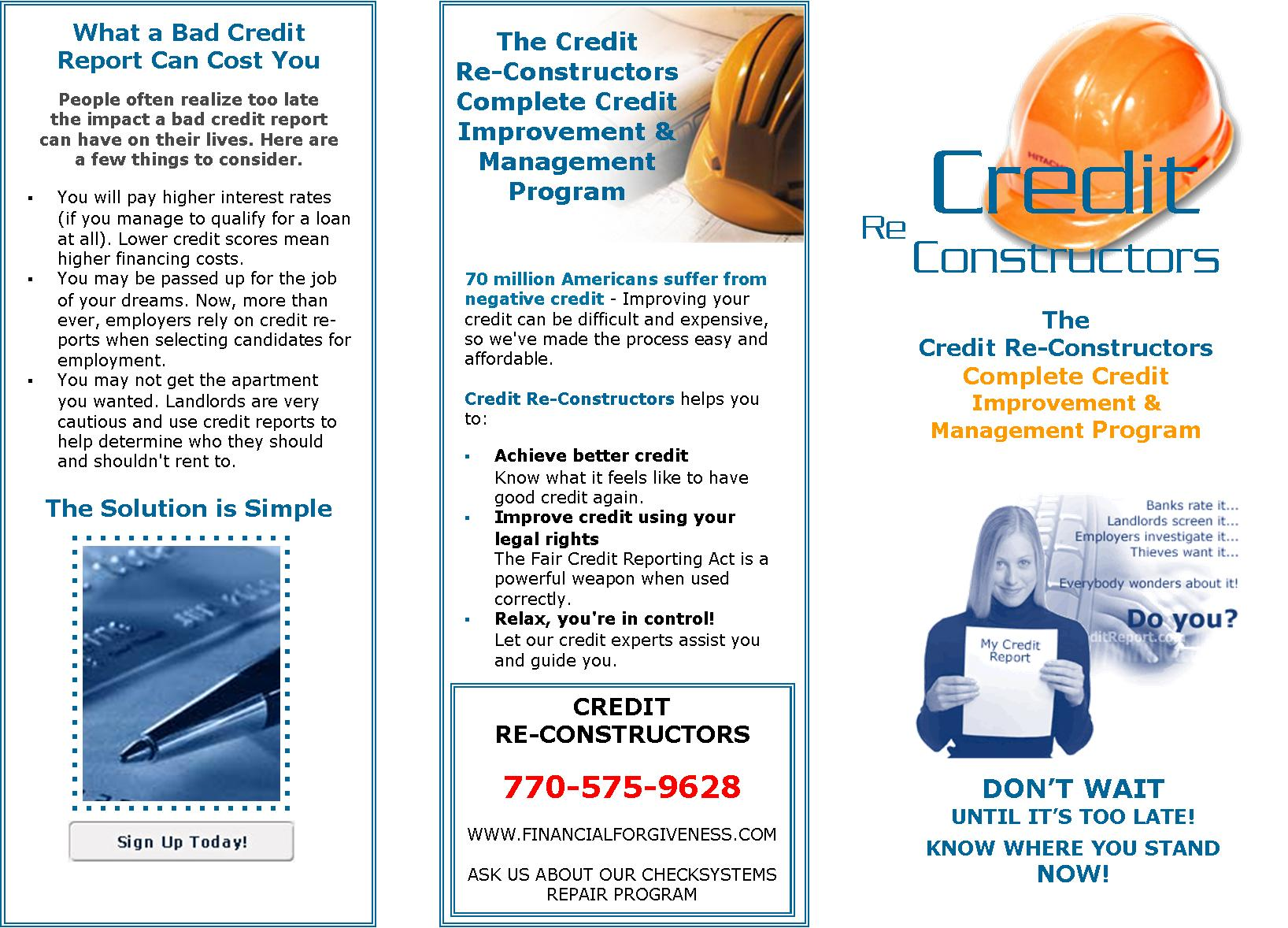 Project: Brochure - Credit ReConstructors