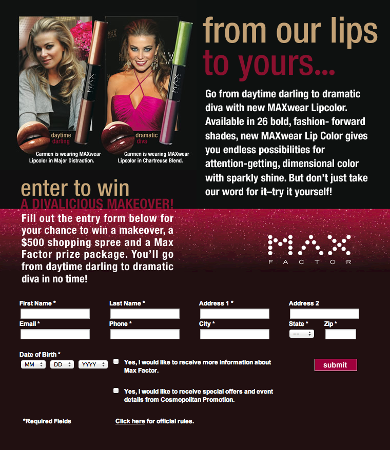 Project: SweepsStakes - Max Factor